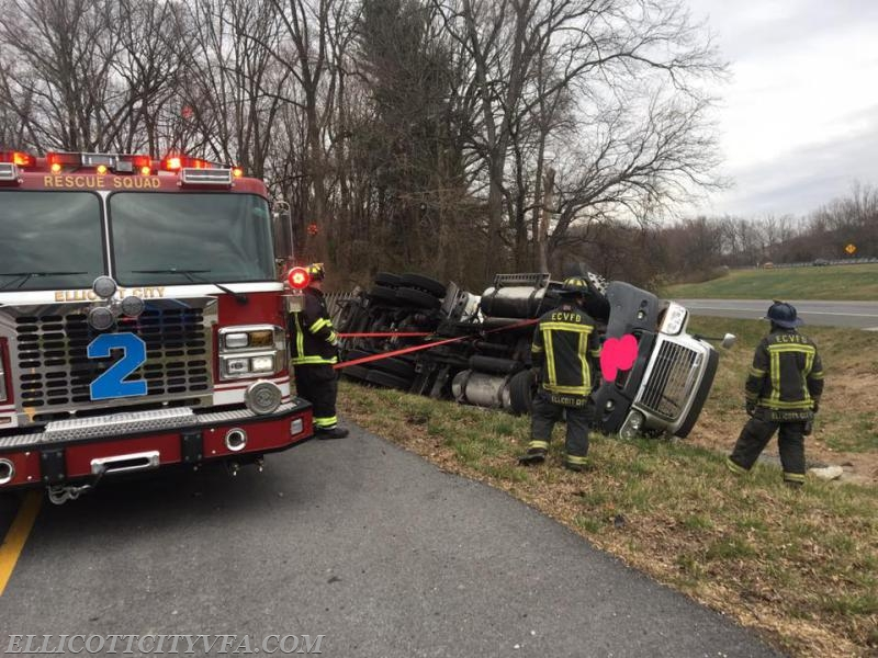 Truck accident Route 70 ramp - Ellicott City Volunteer Fire
